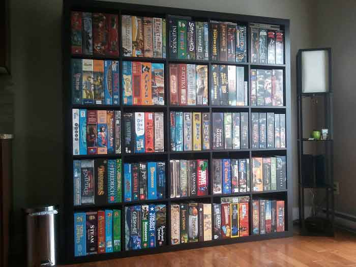 how to store board games vertically